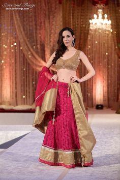 Saris and Things raspberry bronze Indian bridal lengha