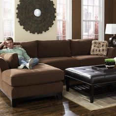 Small Brown Microfiber Chaise Montana Mocha 2Piece Sectional