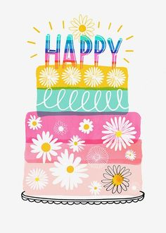 Flowers birthday illustration New Ideas Happy Birthday Wishes For Her, Birthday Greetings For Women, Birthday Wishes For Boyfriend, Birthday Wishes Quotes, Birthday Clipart, Birthday Diy, Birthday Cards, Cake Birthday, Birthday Pictures