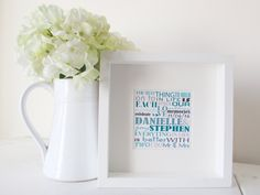 Personalized Wedding Gift Framed Print Personalised Word Art Picture Unique present Personalised Present Framed Bespoke Wedding Gift by NJRDesigns on Etsy