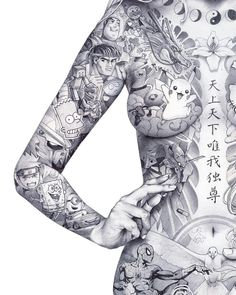 Japanese Tattoo Art, Japanese Art, Type Tattoo, Body Art Photography, Neue Tattoos, Beautiful Fantasy Art, Korean Art, Pulp Art, Graphic Design Illustration