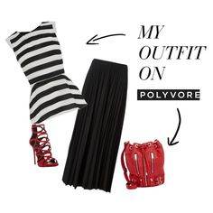 Day to Evening! by critiquestyle on Polyvore featuring  Theory black Maxi Skirt Oasis black Peplum Top Yves Saint Laurent leather purse Giuseppe Zanotti red shoes