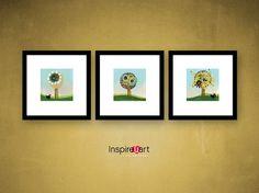 Spring Trees 3 Set of 3 Prints Artist Signed Birds by Inspireuart, #Easter, #spring, #fresh, #art, #prints, #home, #decor, #trees, #nature, #birds, #landscape, #homedecor, #blue, #green, #kids #nursery #baby #signed