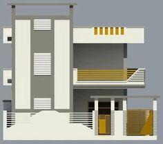 Resultado de imagen para elevations of independent houses Grey Hallway, 2 Bedroom House Plans, House Elevation, Front Elevation, False Ceiling Living Room, Independent House, House Map, Smart Home, Exterior Design