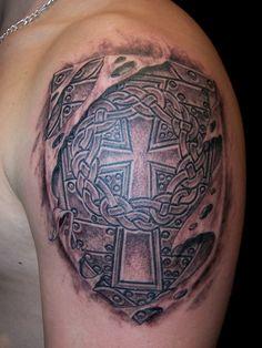 celtic+cross+in+shield+tattoo | Gandalf Tattoo - Celtic cross on a shield / 72
