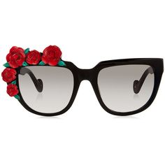 Anna-Karin Karlsson Rose Rouge Flower Embellished Sunglasses ($550) ❤ liked on Polyvore featuring accessories, eyewear, sunglasses, glasses, wide sunglasses, round sunglasses, oversized retro sunglasses, rose lens sunglasses and embellished sunglasses