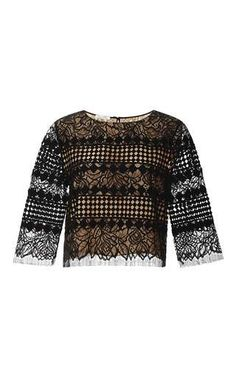 Jewel neck cropped blouse by OSCAR DE LA RENTA Now Available on Moda Operandi