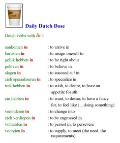 Dutch verbs with the preposition IN