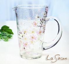 ○●La shion●○さくら柄ハンドペイント ピッチャー (水差し・花瓶としても)◆日本製