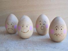 Nature's Emotional Eggs Natural Wooden Toy Set by NaturesToybox