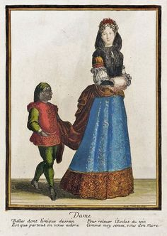 It's About Time: Out of the Shadows - 16C-18C Young Slaves hidden in portraits of elites.  1678-1693 French Fashion plate Recueil des modes de la cour de France, 'Dame'.