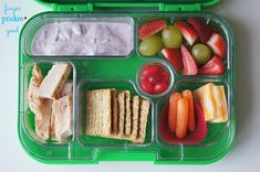 Here's what's inside: Grilled Chicken Strips= 0 carbs Triscuits= 20 carbs Cheese Bar= 0 carbs Chobani Champions Yogurt Tube= 9 carbs Strawberries= 2 carbs Grapes= 8 carbs Carrots= 0 carbs Jelly Beans (a rare but very much appreciated treat)= 11 carbs Lunch Total= 51 carbohydrates