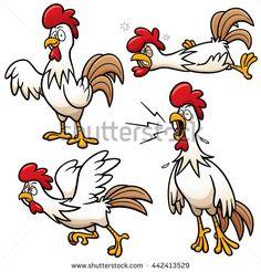 Vector illustration of Cartoon Chicken Character Set