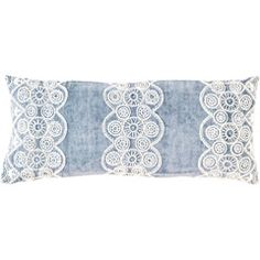 Pine Cone Hill French Knot Blue Double Boudoir Pillow PCHFKBDPDB