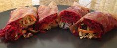 Beet, carrot, cabbage, broccoli and shitake mushroom fresh rolls. Vegan.