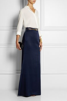 Alexander McQueen | Satin-crepe maxi skirt | NET-A-PORTER.COM perfect for a casual, but dressy night out