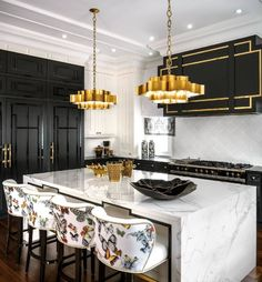 Luxury kitchen enhancementsIt's just all-natural to wish to include some luxury products to your kitchen style. Gold Kitchen, Home Decor Kitchen, Kitchen Interior, Home Kitchens, Kitchen Ideas, Kitchen Black, Luxury Kitchens, Art Deco Kitchen, Kitchen Prints