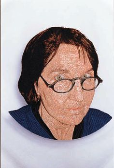 Satoru Aoyama. Joan, 2001; embroidery on polyester; 22 by 22 inches.