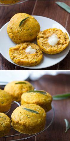 Savory Pumpkin and Sage Biscuits, lightened up with Greek yogurt. #pumpkin #fallrecipes #greekogurt