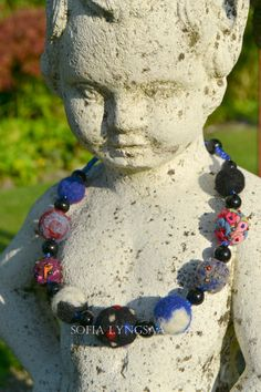 23. Handmade Needle Felted Necklace in Multicolor by SofiaLyngsaa, $36.00