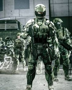 Female Marine in full BDU on New Mombasa. Robot Concept Art, Armor Concept, Guerra Anime, Best Armor, Halo Armor, Halo Series, Halo Game, Futuristic Armour, Future Soldier