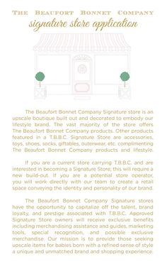 To apply to open a T.B.B.C. Signature Store please fill out the application below and email it toinfo@thebeaufortbonnetcompany.com. Signature Store Applicatio Beaufort Bonnet Company, Baby Bonnets, That Way, Cute Kids, Kid Stuff, Fill, How To Become, How To Apply, Babies