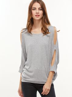 Shop Heather Grey Cutout Dolman Sleeve Tied V Back T-shirt online. SheIn offers Heather Grey Cutout Dolman Sleeve Tied V Back T-shirt & more to fit your fashionable needs.