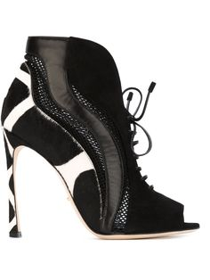 Sergio Rossi panelled lace-up booties
