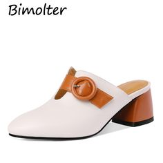 Nine Seven Genuine Leather Womens Square Toe Low Chunky Heel Elegant Handmade Concise Slip On Mule Pumps with Buckle