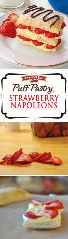 Puff PastryStrawberry Napoleons Recipe. Make the most of those sweet summer strawberries with these delectable layered desserts. This simple treat couldn't be easier. Simply stack layers of Puff Pastry, vanilla pudding, fresh strawberries and whipped cream. Feel free to drizzle with chocolate for an extra decadent dessert. Perfect for ladies night, brunch or serve anytime friends pop over!