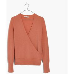 MADEWELL Wrap-Front Pullover Sweater ($80) ❤ liked on Polyvore featuring tops, sweaters, old rose, sweater pullover, turtle neck sweater, brown top, brown turtleneck and polo neck sweater