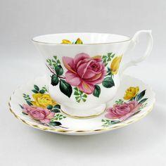 Royal Albert Pink and Yellow Rose Tea Cup and Saucer, Vintage Bone China