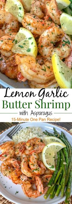 Lemon Garlic Butter Shrimp with Asparagus - this is an easy, light and healthy d.Lemon Garlic Butter Shrimp with Asparagus - this is an easy, light and healthy dinner option that can be on your table in 15 minutes. Buttery shrimp and asparagus Healthy Dinner Recipes For Weight Loss, Healthy Dinner Options, Healthy Recipes, Dinner Healthy, Lemon Recipes Dinner, Easy Shrimp Recipes, Cheap Recipes, Chicken Recipes, Healthy Cooking