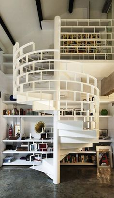 Bookshelves around spiral staircase!  I'd just be afraid about books falling out the back....or front.  Whatever that is.
