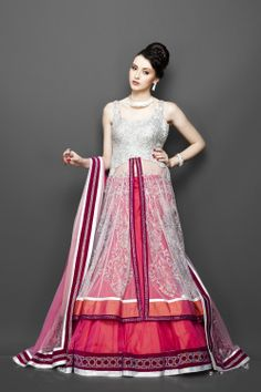 Featuring this Coral and Silver Jacket style outfit in our wide range of Lehengas. Grab yourself one. Now!