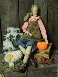 Купить Анфиса текстильная интерьерная кукла Тильда. - коричневый, кукла Тильда, кукла интерьерная