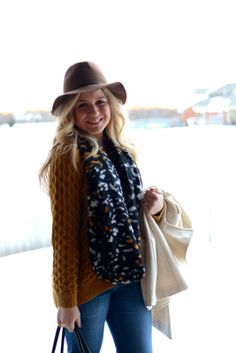 floppy hat + mustard sweater + printed scarf
