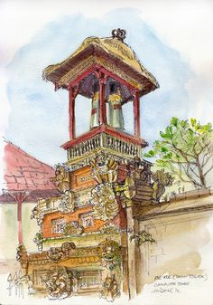 Kul-Kul at Campuhan temple, Ubud, Bali. This is a bell tower and is only a small part of the temple grounds. Watercolor Sketch, Watercolor Paintings, Landscape Illustration, Illustration Art, Temple Drawing, Bali Architecture, Bali Painting, Mask Drawing, Urban Sketching