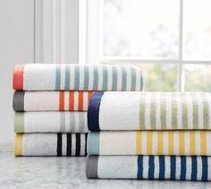 Marlo Stripe Organic 600-gram Weight Bath Towels   Pottery Barn