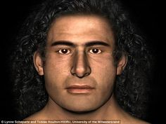 The team reconstructed the Griffin Warrior's  face (pictured) by layering facial tissues from the skull surface outward by using depth marker pegs to determine the thickness - revealing a he had long black hair, a square jaw and powerful neck