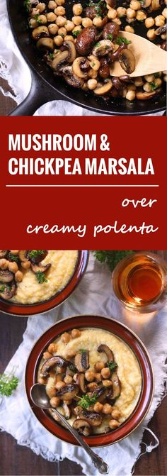 Chickpea & Baby Portobello Mushroom Marsala Over Creamy Polenta