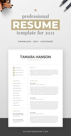 Professionally designed resume template that showcases your skills and experience in an elegant and effective way. The layout is optimized for building a resume that is informative, visually attractive and easy to navigate. The template package includes resume, cover letter and references templates in matching designs for creating a complete and consistent job application quickly and easily. Build your new resume now! #resume #resumetemplate #cv #cvtemplate #jobsearch #jobhunt #careeradvice Creative Cv Template, One Page Resume Template, Modern Resume Template, Cover Letter For Resume, Cover Letter Template, Letter Templates, Resume References, Marketing Resume, Microsoft Word 2007