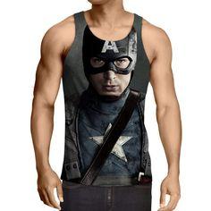 Captain America: 3D Printed Phantasmagoric Captain America Tank Top