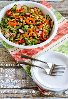 Cucumber Ribbon Salad with Peppers, Radishes, and Thai Dressing (Low-Carb, Can Be Paleo)