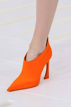Orange high heel ankle booties. Christian Dior, Couture Fall 2014. Photo: Gianni Pucci / In Digital Images http://www.style.com/fashionshows/detail/slideshow/F2014CTR-CDIOR/#115