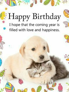 Send Free Cuddling Dog & Cat Happy Birthday Card to Loved Ones on Birthday & Greeting Cards by Davia.