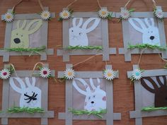 Zajíci v rámečku Easter Projects, Easter Crafts For Kids, Spring Art, Spring Crafts, Easter Bulletin Boards, Diy And Crafts, Paper Crafts, Photo Candles, Paper Mache Sculpture
