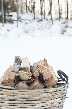 Our Winter Cabin: basket of logs I Love Winter, Winter Day, Winter Season, Winter Christmas, Christmas Time, Winter Things, Winter Picture, Hello Winter, Nordic Christmas