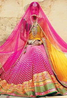 Embrace with ardor the prospect of serene leisure clad in this pink color shade net and banarasi silk lahenga choli. The ethnic lace, stones and resham work within the attire adds a sign of elegance statement to your look. Indian Bridal Wear, Indian Wedding Outfits, Indian Wear, Indian Outfits, India Fashion, Asian Fashion, Bollywood, Lehenga Designs, Bridal Lehenga
