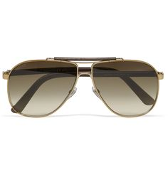 """Gucci Leather and Metal Aviator Sunglasses 